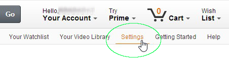 Amazon Prime Settings